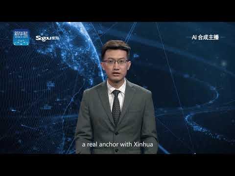 في الصين ، روبوت يقوم بتقديم نشرة الأخبار