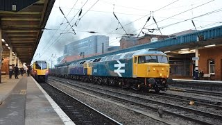 preview picture of video 'British Rail Large Logo 47847 and GBRf 47843 Gypsum Train passing Doncaster'