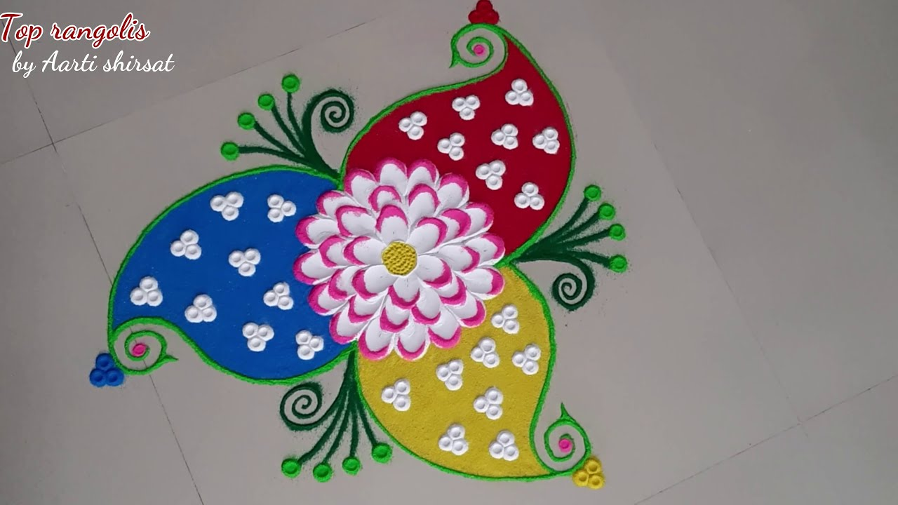 beautiful shading flower rangoli design by aarti shirsat