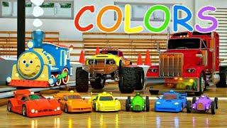 Les voitures font la course. Apprenons les couleurs
