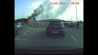 preview picture of video 'Tony's Dashcam - Norwich Park & Ride bus on fire #84'