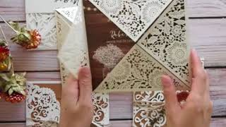 Elegant Rustic Laser Cut Wedding Invitation