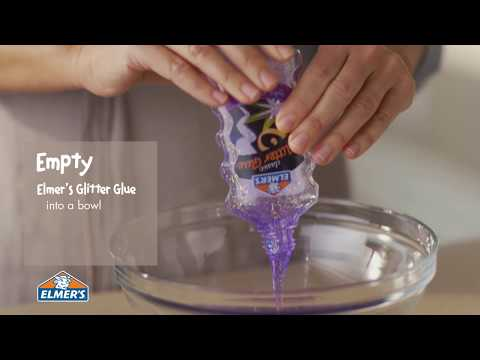 Video Elmer's Glue DIY, KID-FRIENDLY Purple Glitter Slime!