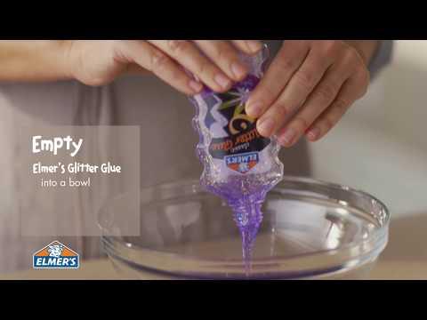 Video Elmer's Glue DIY, KID-FRIENDLY Purple Glitter Slime!
