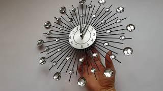 """Настенные часы (33 см) металл+стразы """"Солнце"""" [Металл, Стекло]"""