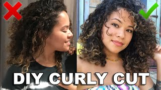 HOW TO CUT YOUR OWN HAIR AT HOME | DIY CURLY CUT ON 3A/3B HAIR | TRIPLE UNICORN CUT WITH A TWIST