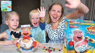 Челлендж ПОРОСЕНОК ОБЖОРА или БУРГЕР БУМ Веселая семейная игра от Family Box Милана Даня и мама