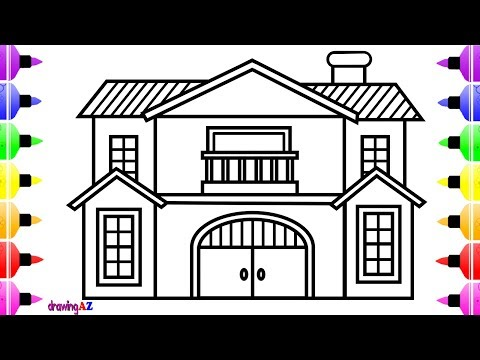 How to Draw House Step by Step for Kids | Cute Art Coloring Book for Children