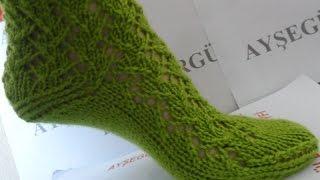 Çorap Patik modeli (Beş şiş Yeşil Çorap)