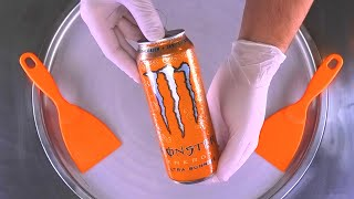 Ice Cream Rolls   how to make Monster Energy Drink rolled Ice Cream / Fried Ice Cream   Food ASMR