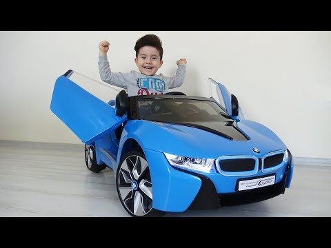 Yusuf'a yeni BMW i8 akülü araba! Kids pretend play with battery powered car