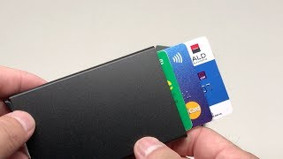 Credit Card Holder Metal Black & Silver In 4K