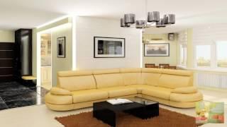 Желтый диван в интерьере гостиной