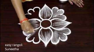Simple Rangoli Kolam      Latest Beginners Muggulu By Suneetha     Free Hand  Flower Patterns