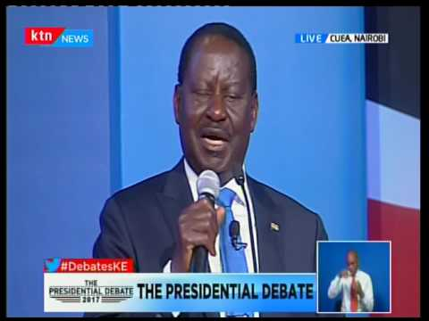 Raila Odinga makes his closing remarks at the Presidential Debate 2017