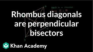 Grade 9 Math | Proof: Rhombus Diagonals are Perpendicular Bisectors | Khan Academy
