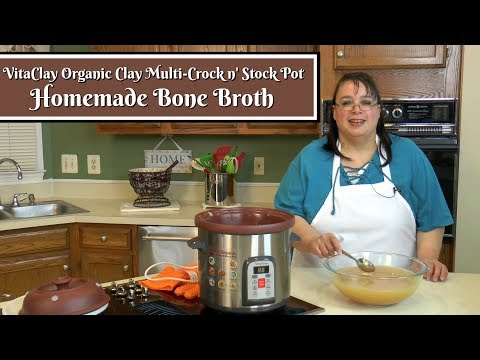 Homemade Bone Broth ~ How to Make Chicken Stock ~ Vitaclay Organic Crock n' Stock Pot