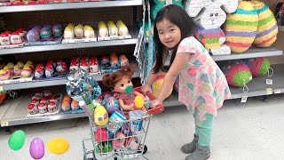 Shopping with Baby Doll for Easter Eggs,Shimmer & Shine, and Shopkins