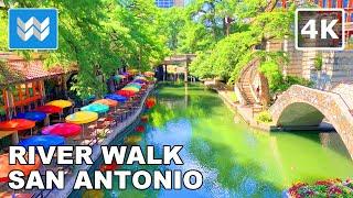 [4K] River Walk in San Antonio Texas USA - Virtual Walking Tour & Travel Guide 🎧 Binaural City Sound