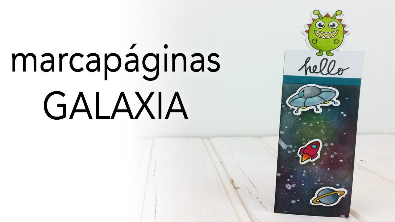 Marcapáginas Galaxia | Fondo Galaxia con tinta Distress