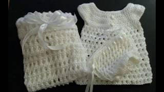 Crochet baby dress. Beautiful easy lacey set. The dress