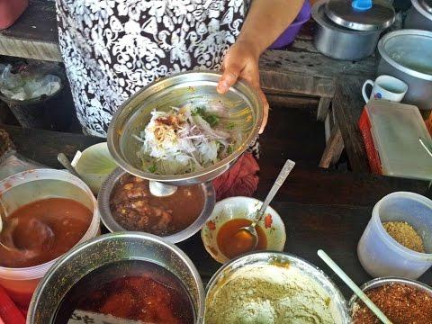 ข้าวยำเส้นใหญ่แบบพม่าน่ากินมากมาก Noodle Salad Myanmar Style