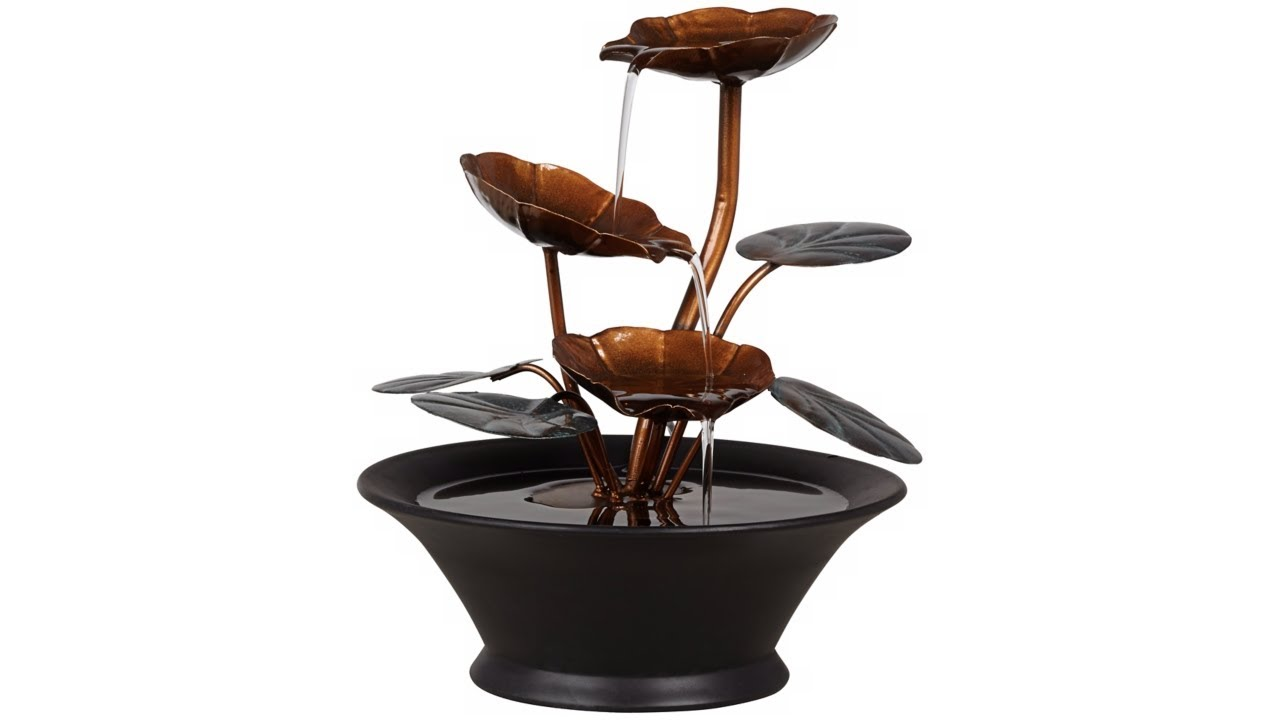"Alvera Metal Leaves 9 1/2"" High Indoor Table Fountain"