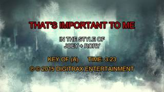 Joey+Rory - That's Important To Me (Backing Track)