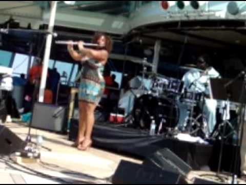 Ragan Whiteside: Flute riffs in high heels on a rocking boat.