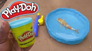 WORLD'S FIRST PLAY-DOH Fish POND Aquarium! DIY