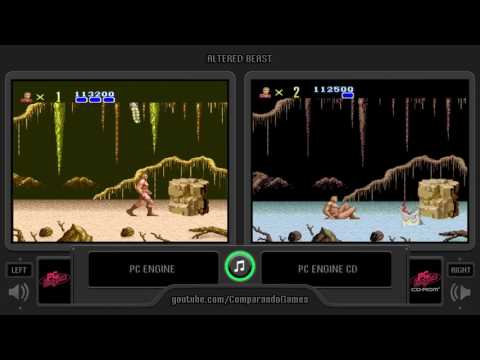 Altered Beast (Pc Engine vs Pc Engine Cd) Side by Side Comparison (Juuouki)