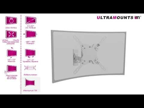 UltraMounts UM866W. Установка телевизора на стену с помощью наклонно-поворотного кронштейна UM866W.