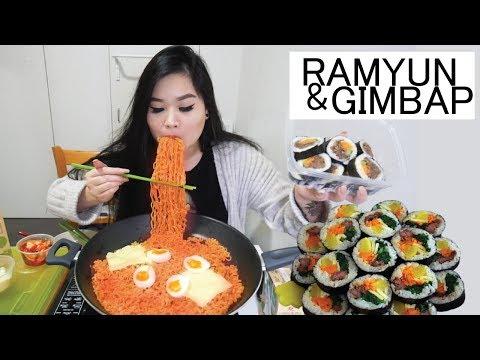 SPICY NOODLES AND GIMBAP   MUKBANG   EATING SHOW
