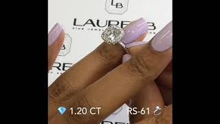 1.2 Ct Cushion Cut Diamond Double Edge Halo Ring