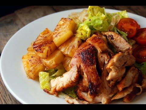 ensalada templada de pollo y piña