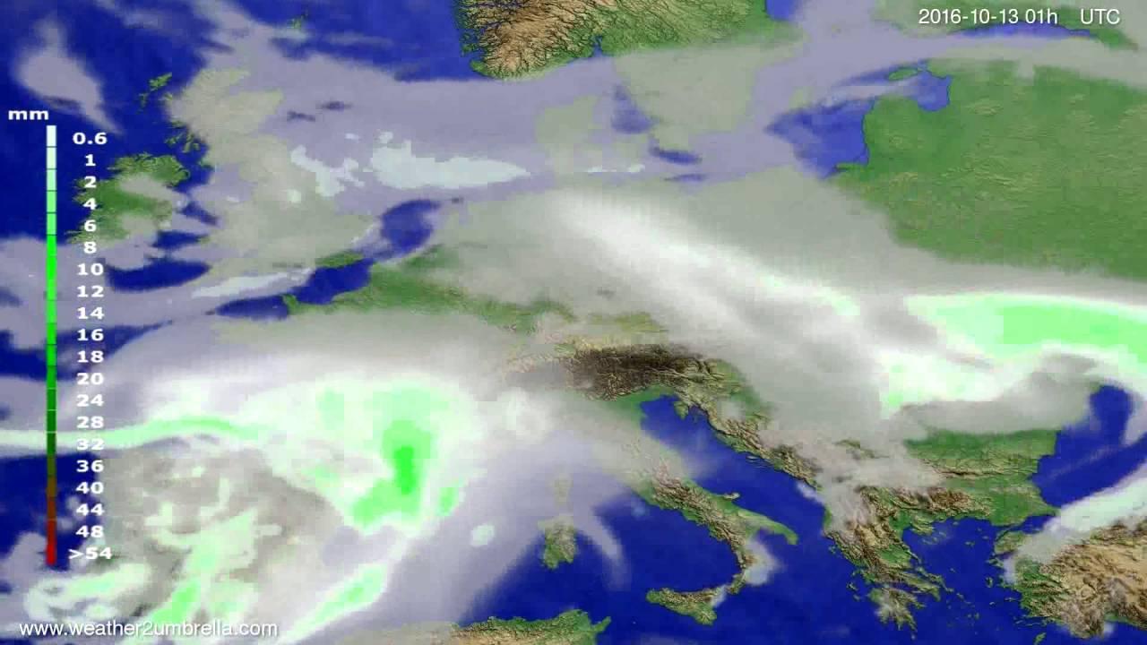 Precipitation forecast Europe 2016-10-10