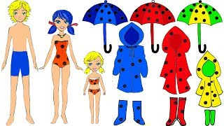 Paper Dolls rainbow family dress up Ladybug & Cat Noir costumes dresses for rain accessories crafts