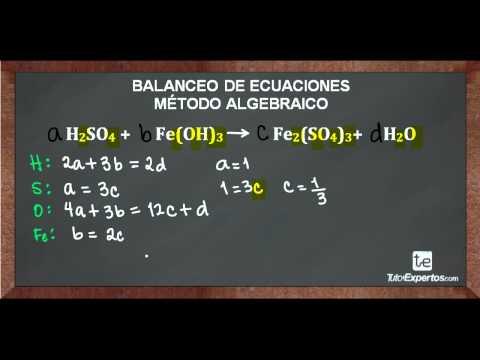 Balanceo de ecuaciones quimicas por el metodo algebraico ejercicios resueltos