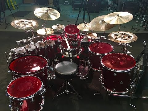 Thomas Lang setting up his DW kit for a recording session