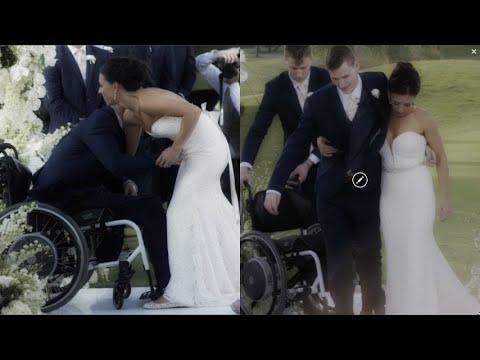 Si alza dalla sedia a rotelle per camminare fino all'altare con le sue gambe. La forza dell'amore