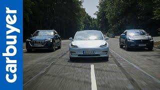 Tesla Model 3 vs Jaguar I-Pace SUV vs Audi e-tron SUV - Carbuyer