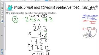 Multiplying and Dividing Negative Decimals