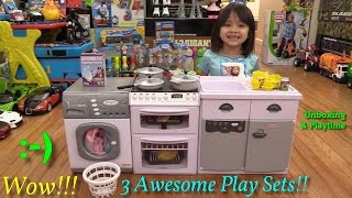 Toys for Little Girls: Kitchen Playset! Laundry Washing Machine Toy and Refrigerator Toy Set