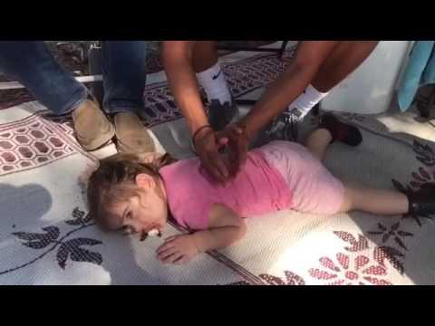 Little girl gets massage, so cute!