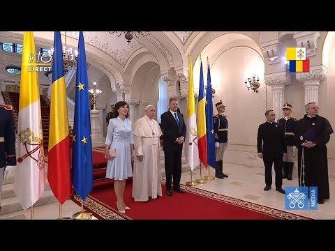 Cérémonie de bienvenue du pape François en Roumanie