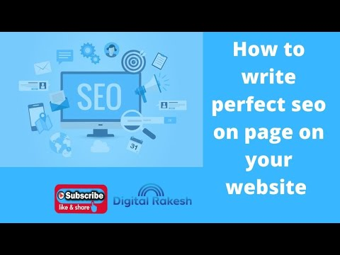 How to write perfect seo on page on your website