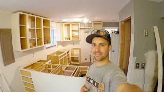 How To DIY Kitchen Cabinets Complete Kitchen Remodel PT1. Make Cabinets, FaceFrames and installation