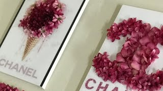 3D FLOWER CANVAS WALL ART USING DOLLAR TREE FLOWERS/CHANEL INSPIRED DIY ROOM DECOR