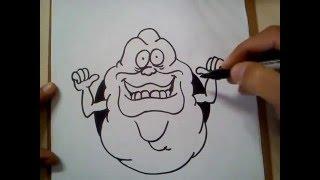 COMO DIBUJAR A PEGAJOSO DE LOS CAZAFANTASMAS / how to draw Ghostbusters Slimer