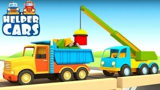 Helfer Autos reparieren die Brücke. Zeichentrickfilm für Kinder